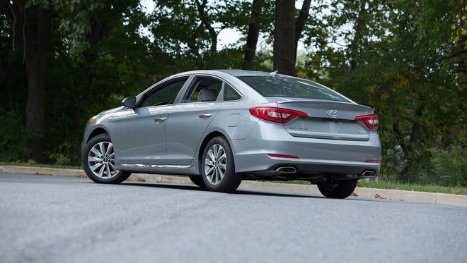 The 2015 Hyundai Sonata Sport has a blind spot monitor and rear cross-traffic alert.