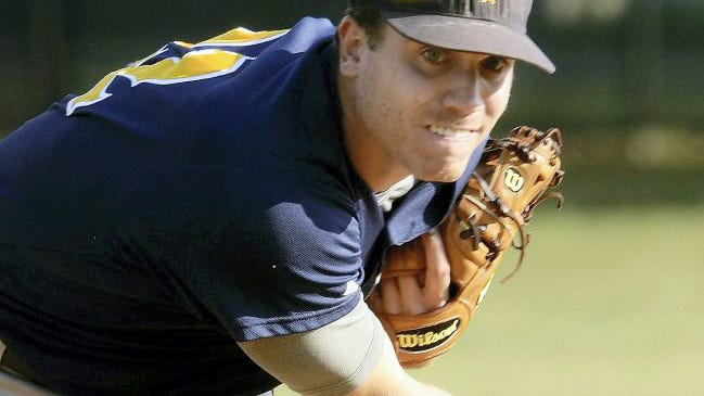Dan Dierdorff is shown here pitching for Mount Wolf during his standout Central League baseball career. Dierdorff has accepted an assistant coaching position at Cedar Cliff.