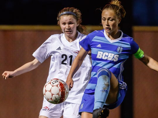 Brookfield Central senior Brandi Thomsen receives a pass during a match at Arrowhead in May.