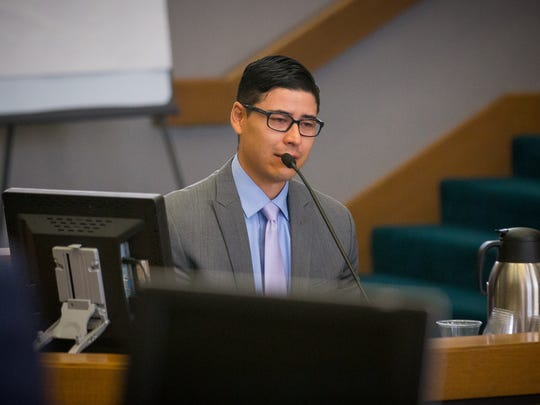 Former Santa Fe County sheriff's deputy Tai Chan, on trial for murder at Las Cruces District Court, testifies in his own defense, June 3, 2016.
