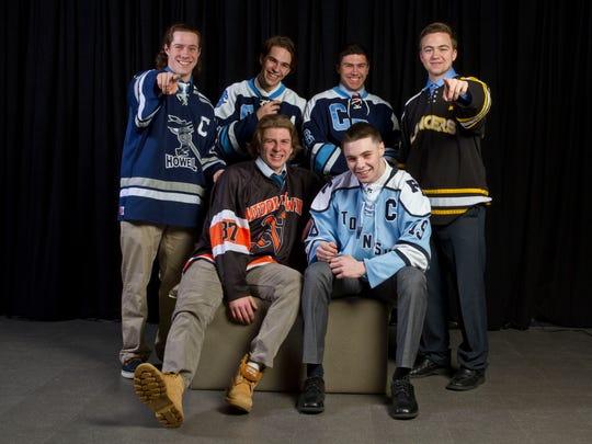 The 2014-15 Asbury Park Press All-Shore Ice Hockey Team of (front) Bobby Hampton and Zach Berzolla; (back) Kyle Hallbauer, Ryan Bogan Jr., Michael Cernero and Matt Kidney.
