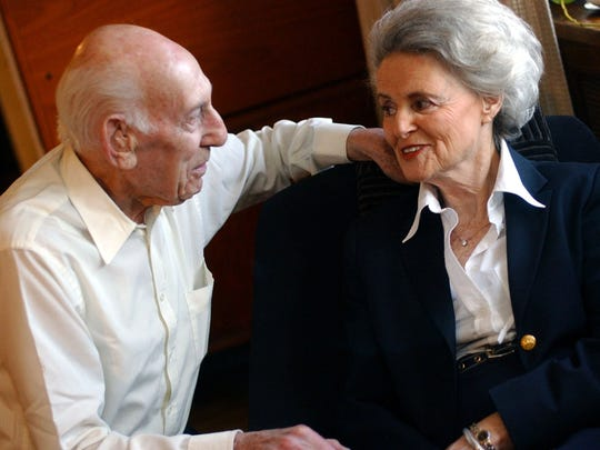 Jack Polak and his wife, Ina, both of whom are Holocaust survivors, in their home in Eastchester April 14, 2005. Polak died Friday. He was 102.