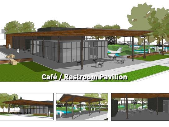 A look at the cafe and restroom pavilion planned for