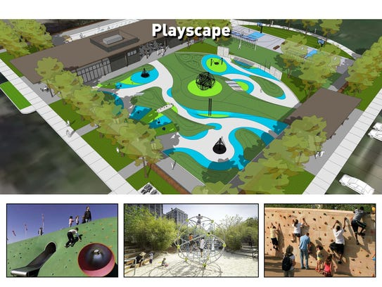 A new playground at Tarkington Park will have a rubberized