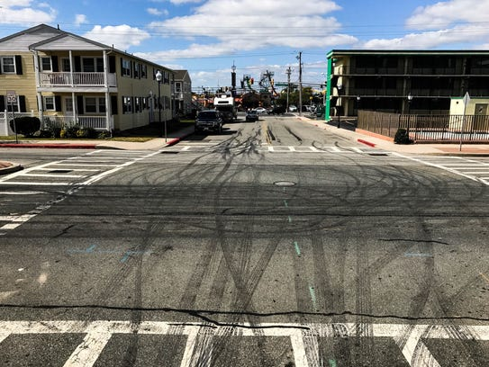 Burnout remnants left behind on 30th Street in Ocean