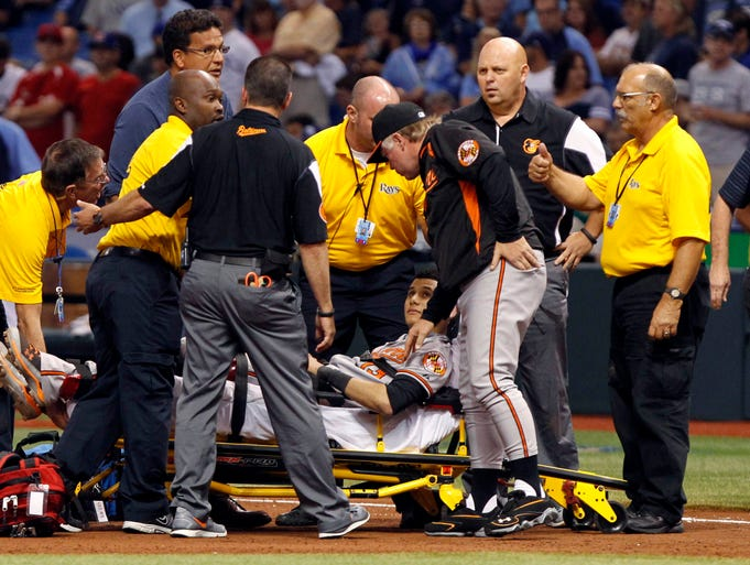 Sept. 23: Orioles third baseman Manny Machado is carted off the field after he injured his knee. He's out for the season.