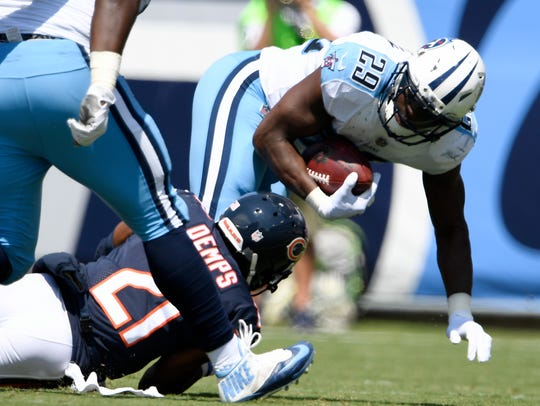Titans running back DeMarco Murray (29) tries to escape