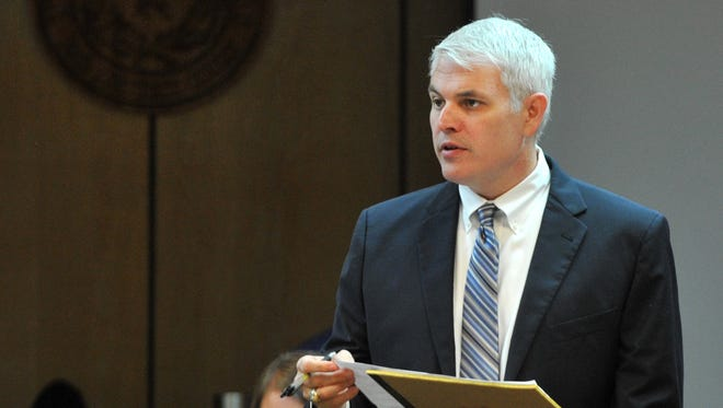 Prosecuting attorney John Gillespie questions potential jurors during recent jury selection. Gillespie, with the Wichita County District Attorney's Office, has been a felony prosecutor for 16 years.