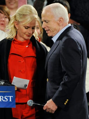 Cindy McCain gets emotional as she introduces her husband, Sen. John McCain, at a midnight rally Nov. 4, 2008, at the Yavapai County Courthouse in Prescott, Arizona.