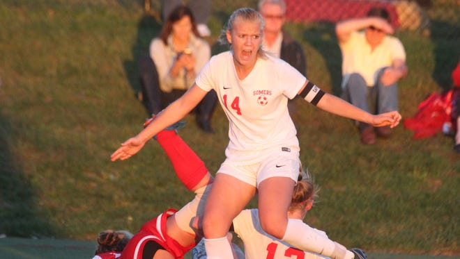 Somers girls' soccer beat North Rockland 5-2 in overtime at Somers Sept. 23, 2015.