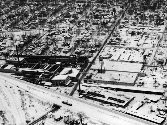 This 1961 aerial photo shows the American LaFrance Company in Elmira.