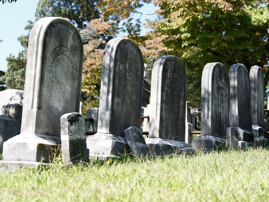 Grave markers at Sleepy Hollow Cemetery in Sleepy Hollow on Wednesday, August 30, 2017.