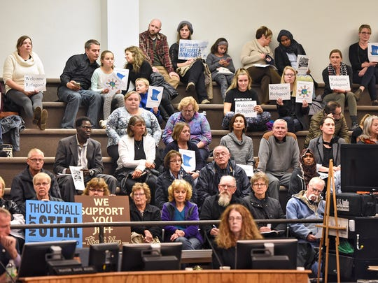 Community members fill the seats of city hall during the Monday, Oct. 23, St. Cloud City Council meeting.