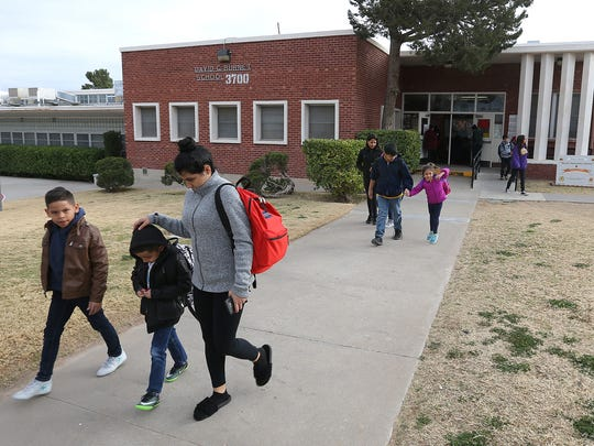 Burnet Elementary School students are dismissed for the day in 2018.