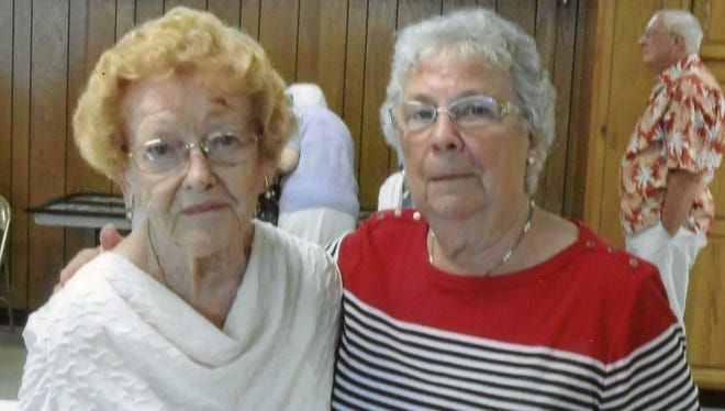 Pictured at the Alumni Association of Fredericksburg High School are Eleanor Bordner, right, president of the organization, and Vesta Grumbine Walborn, who graduated in 1936.