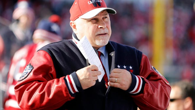 Washington Capitals head coach Barry Trotz in the first period against the Chicago Blackhawks during the 2015 Winter Classic hockey game at Nationals Park.