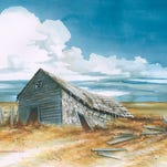"""""""Grenora Swayback"""" is a watercolor by Leith DeWeese of St. Marie. She focuses on the ruins of northeastern Montana (and nipped over to North Dakota for this painting)."""