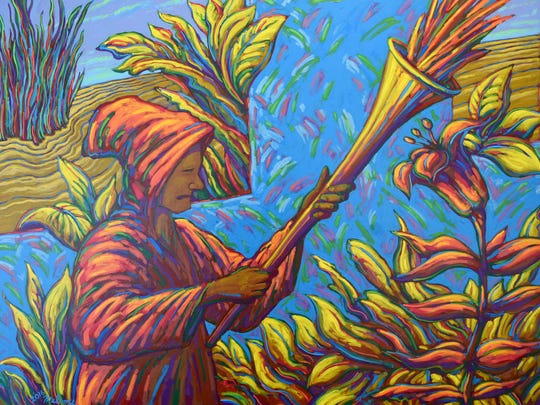 Tuning the Yellow Horn by Harry Melroy can be seen at the May Show at the Mansfield Art Center.