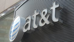 The AT&T logo is seen in Washington, D.C.