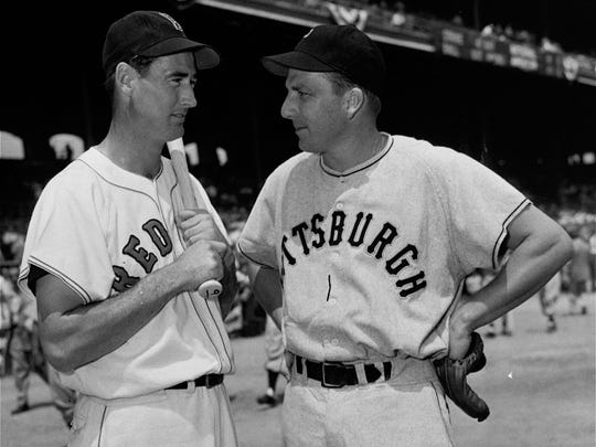 Pittsburgh Pirates' Ralph Kiner, right, talks with Boston Red Sox' Ted Williams on July 11, 1950, before the start of the All-Star game at Comiskey Park in Chicago.