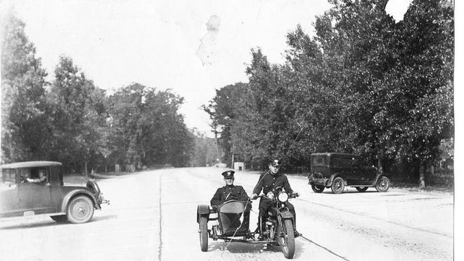 Park Police are shown on the first section of Presque Isle roads in this undated photo.