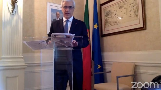 Portugal's Ambassador Domingos Fezas Vital delivers his remarks during Portugal Heritage Day celebration held this year virtually.