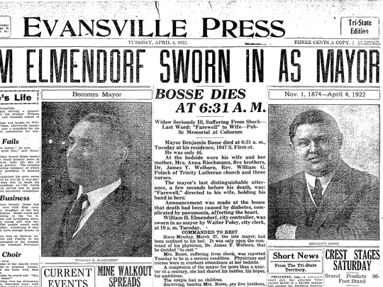 Front page of the Evansville Press from April 4, 1922, the day famed-Evansville Mayor Benjamin Bosse died while in office.