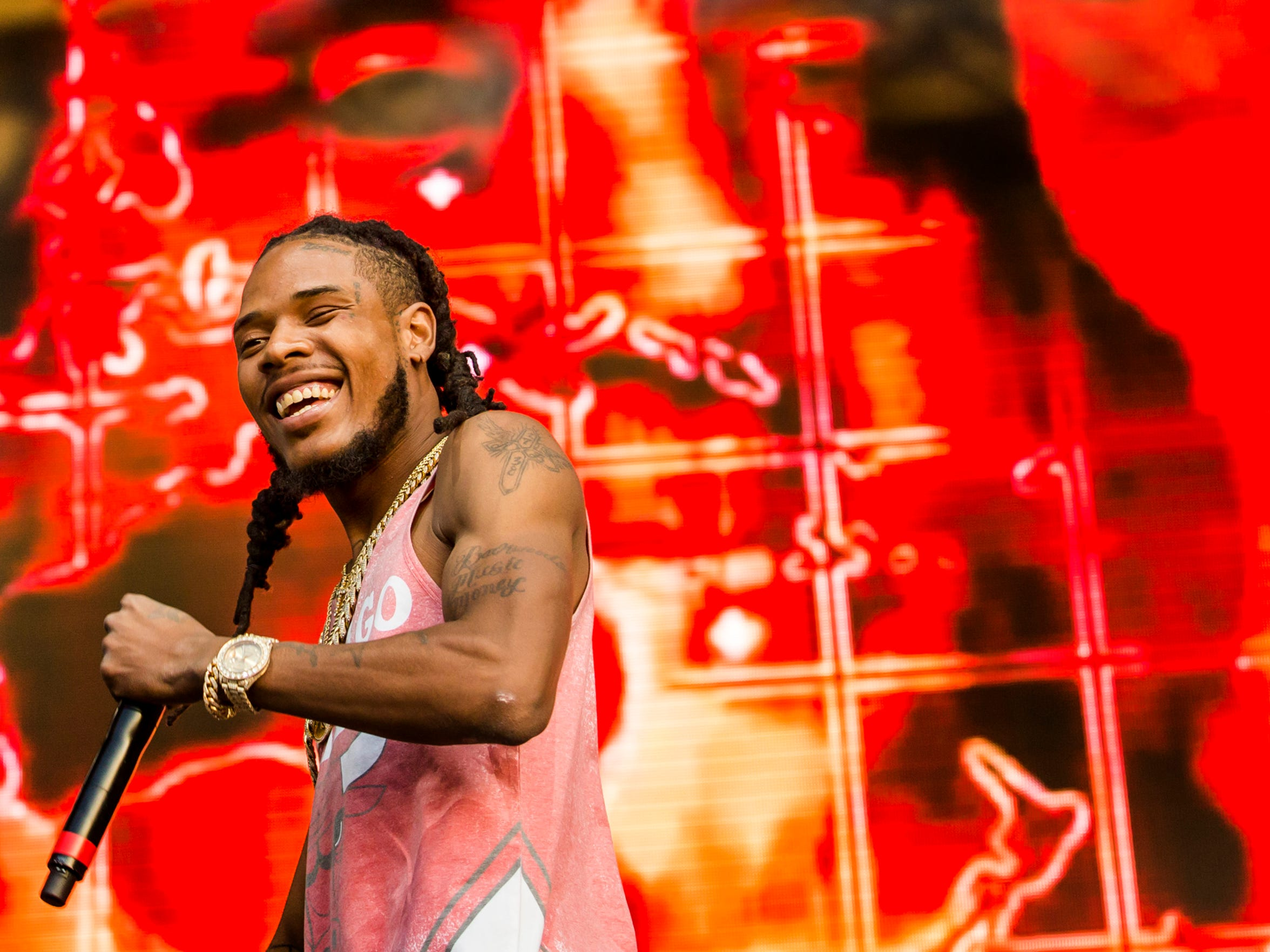 Fetty Wap performs on the Backyard Stage at the Firefly Music Festival in Dover on Saturday.