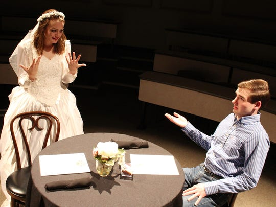 "Bridgett Mistrot, then a sophomore, and Nathan Lowe were in ""Check Please, Take Two"" in October 2017 at Hardin-Simmons University"