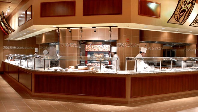 The rotisserie and carving station at the buffet in the Eldorado Hotel Casino features prime rib, leg of lamb, ribs, grilled whole chickens, Chinese-style pork loin and other meats.