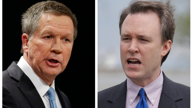 Ohio Gov. John Kasich, left, is being opposed by  Ed FitzGerald, right.