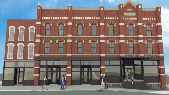 A rendering of what the renovated Keefer House Hotel may look like once doors re-open.