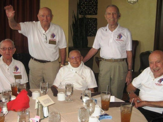 From left, Cpl. Sam Huttenhower, Lt. George Schenkman, Sgt. Maj. Ray Wilburn, PFC Les Carlyle and Sgt. Maj Ray Schum.