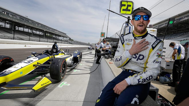 IndyCar driver Charlie Kimball (23) prepares himself for practice for the Indianapolis 500 at the Indianapolis Motor Speedway in this Thursday, May 17, 2018, file photo. Kimball will speak in Mountain Home on Nov. 14 as the Reppell Diabetes Learning Center at Baxter Regional Medical Center celebrates World Diabetes Day.