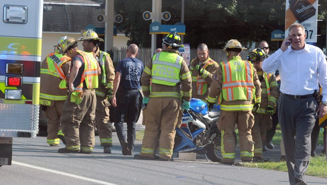 A motorcyclist was hurt Wednesday in a crash on Del. 1 in Little Heaven, state police said.