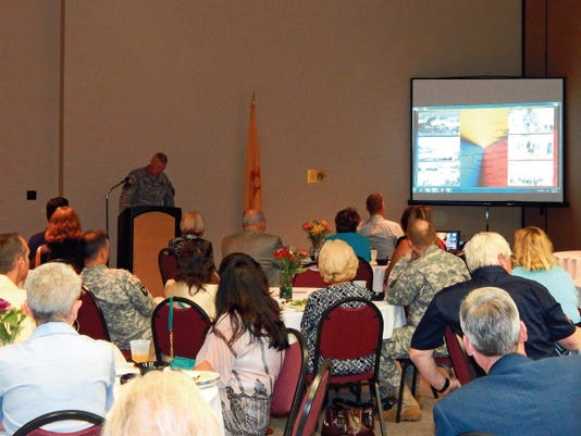 Colonel Mike Hester, Garrison Commander of Fort Bliss during his presentations.