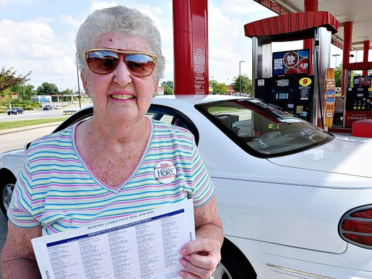 Jan Snyder, of Dover Township, talks about taking advantage of opportunities to encourage people to register to vote with registration forms in-hand at Sheetz in York, Pa. on Saturday, Aug. 29, 2015. Dawn J. Sagert - dsagert@yorkdispatch.com