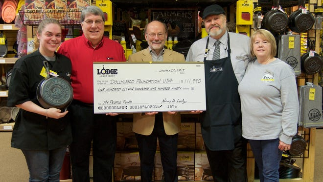 Left to right: Jessica Woodward of Lodge Factory Store, Pigeon Forge; Henry Lodge, CEO of Lodge Manufacturing; David Dotson, President of Dollywood Foundation; Dick Reeves and Sandy Hubbard, Lodge Factory Store, Pigeon Forge.