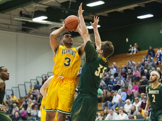 Greece Athena's Anthony (3) averaged 10 points and 6.8 rebounds in Vermont's first six games. The freshman forward is second for the Catamounts in scoring and leads them in rebounding.