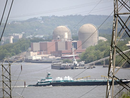 A tanker goes pass Indian Point on May 11, 2015, after