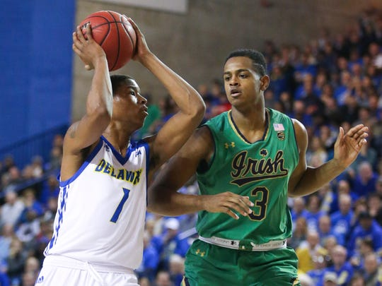 Delaware's Kevin Anderson (left) drives against Notre Dame's D.J. Harvey in the first half at the Bob Carpenter Center Saturday.
