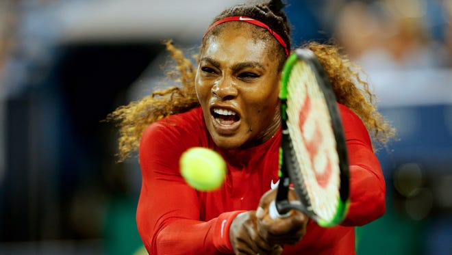 Serena Williams at the Western and Southern Open at the Lindner Family Tennis Center in Mason Monday, August 13, 2018.