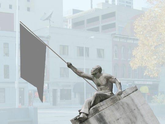 """This rendering previewed """"E Pluribus Unum,"""" a statue"""