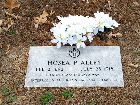 The marker for Hosea Alley, who died on the battlefields