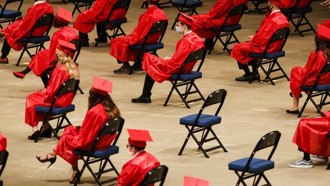 Seabreeze High School students were the first to graduate from the Daytona Beach Ocean Center during the coronavirus pandemic. The summer ceremony meant some grads couldn't attend, and those who made it had to wear masks and social distance.