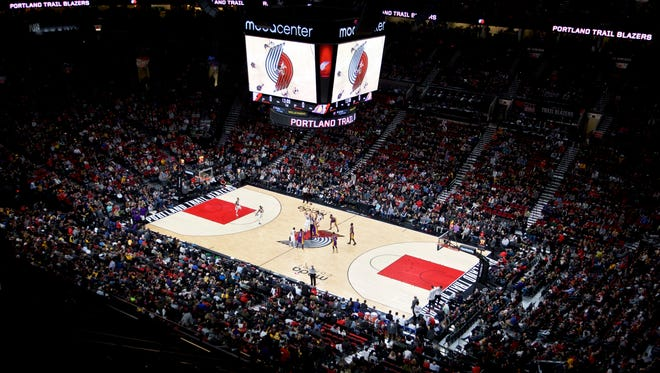 Moda Center during tip off in the first half of the Portland Trail Blazers and Los Angeles Lakers NBA basketball game in Portland, Ore., Thursday, Jan. 5, 2017.