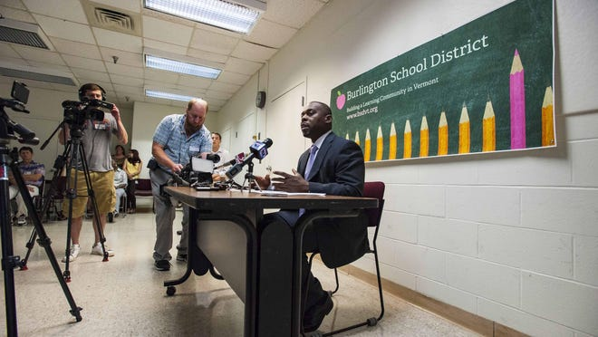 New Burlington schools superintendent Yaw Obeng explains his plans for his first 100 days in office during a news conference in Burlington on Thursday, September 10, 2015.