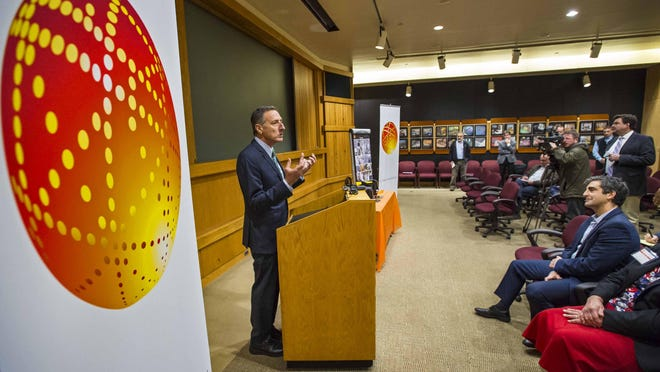 Gov. Peter Shumlin speaks at a news conference to announce a $55 million investment in equipment and infrastructure at the GlobalFoundries Fab 9 in Essex Junction on Wednesday, Nov. 4.