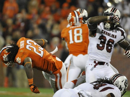 USC safety D.J. Swearinger delivered this hit on Clemson's