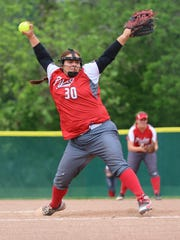 Piketon's Cameryn Alexander winds up to pitch against Wheelersburg Wednesday in a Division III regional semifinal in Lancaster. Alexander earned the SEDAB Scholar Athlete scholarship.